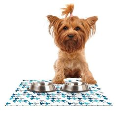 Kess InHouse Project M Blue Tooth Navy White Feeding Mat for Pet Bowl 24 by 15Inch * Learn more by visiting the image link. (This is an affiliate link) #CatFeedingandWaterFountainSupplies