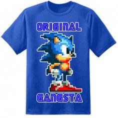 Mens Sonic Original Gangsta T Shirt - Blue