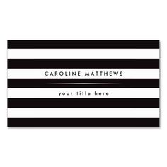 Modern, elegant personal profile or business card template featuring black and white stripes. Customizable name and title/company name on the front and name and contact information on the back. The text (font, text size and color) is fully customizable.