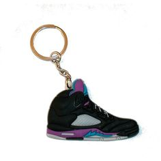 Air Jordan 5 Keyring Keychain Black Grape ($3.07) ❤ liked on Polyvore featuring accessories, ring key chain, key chain rings, keychain key ring and fob key chain