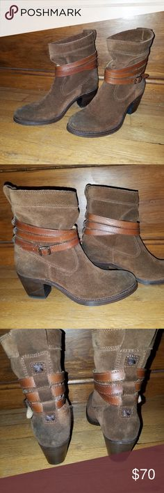 Frye Women's Jane Strappy Short Boots Frye Ankle Boot made of oiled suede with a winding strap with a buckle around the top part of the boot.   Gently worn - not more than 4 times.  Size is 6.5.  Not in original box. Frye Shoes Ankle Boots & Booties