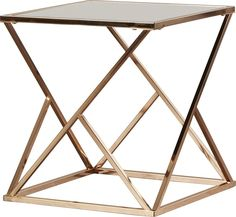 "Taking inspiration from modern design, this elegant Mercer41 square rose gold end table with black glass top top impresses with its slender and lustrous ""geodesic"" gold metal frame. The sleek black glass top provides an attractive juxtapose to the shiny metal frame. Prop the Mercer41 square rose gold end table with black glass top in contemporary living rooms as an accent piece you and your guests will surely love. Mercer41 is a registered trademark of Mercer41 Inc."
