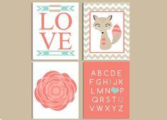 Fox Nursery Prints / Baby Girl Nursery Art / Coral and taupe nursery decor / woodland animals nursery/ wall art / girl's room artwork / by PrimoCollection