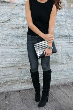Suede Boots, Coated Denim, Sleeveless Sweater, Bold Clutch, Turquoise and Silver, Lucid & Blue