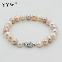 Free Shipping!!!100% real natural freshwater pearl bracelet mixed color cultured genuine pearl bracelet for woman with silver
