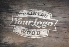 Painted Wood Logo MockUp » GraphicBurger