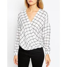 ASOS Drape Wrap Blouse in Mono Check ($58) ❤ liked on Polyvore featuring tops, blouses, rayon tops, white v neck blouse, white wrap top, draped blouse and white blouse
