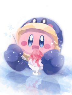 Kirby eating ice cream in a freaken adorable penguin suite! I love it so much!