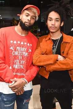 Odell Beckham Jr. wearing Amazon Holiday Sweater, Amiri Bandana MX1 Jeans