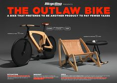 Bicycling Magazine: The Outlaw Bike that hides as a piece of furniture to pay less taxes Bicycling Magazine, Bikes Direct, Bike Prices, Concept Board, Wheelbarrow, Creative Director, Inventions, Awards, Bicycle