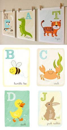 Sea Urchin Studio - Animal Alphabet Series. How cute!!
