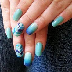 hand_bananas's photo on Instagram  Blue herring bone - chevron and gradient nail art.