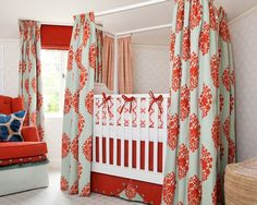 Curtains around a crib. Great idea for nap time in a bright room!