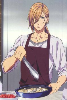 UtaPri ~~ Ren posing with a sexy entree. :: He's such a wealthy hedonist! No doubt someone else does his cooking FOR him. Perhaps Masato?