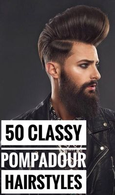 Bring out your inner rock and roll bad guy with a classic pompadour hairstyles, with sleek or messy options for all hair textures and personalities! Skin Fade Pompadour, Pompadour Style, Modern Pompadour, Pompadour Men, Pompadour Hairstyle, Modern Hairstyles, Hairline, Facial Hair