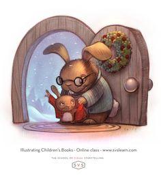 www.willterry.com bunny illustration for www.svslearn.com online Children's Book Class! Learn to illustrate children's books.