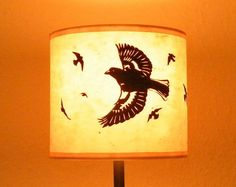 """Paper cut flock of birds drum table lampshade in beige """"Charm of Chaffinch"""" diameter) by FirecrestHandmade on Etsy Drum Table, A Table, Handmade Lampshades, Easter Specials, Flock Of Birds, Standard Lamps, Light Fittings, Flocking, Paper Cutting"""