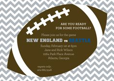 Rooting for the Patriots? Silver Chevron Tailgate Football Party Invitation at PolkaDotDesign.com