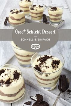 Oreo®-layer dessert- Oreo®-Schicht-Dessert Oreo® layered dessert: Sweet cream with Oreo® biscuits - Oreo Layer Dessert, Oreo Desserts, Mini Desserts, Fall Desserts, Christmas Desserts, Healthy Dessert Recipes, Cake Recipes, Snack Recipes, Snacks