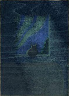 PRINT SHOW 2014 artist:No.4 井上 厚 INOUE Atsushi「風のない夜」水性木版 21.0×14.8cm woodcut
