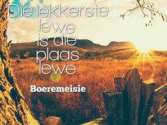 lekkerste lewe plaas lewe Afrikaanse Quotes, Quotes And Notes, Qoutes, Words, Memes, Sd, Africa, Heart, Decor