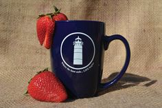 These 12-ounce ceramic Cape Cod Life coffee mugs are navy blue, with our iconic lighthouse and brand philosophy printed in white. Sold in sets of 2.
