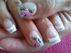 Cute Pedicure Designs, Flower Nail Designs, Nail Art Designs, Great Nails, Cute Nails, Glitter French Manicure, Finger Nail Art, Purple Nails, Flower Nails