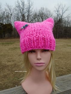 Chunky Pink Pussy Hat. Bright Pink Activist Hats. Pussy Hat.