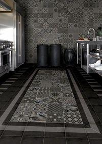 Carrelage imitation anciens carreaux de ciment décor gris foncé anthracite tassel 20x20 cm