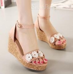 Sweet Flower Ankle Strap Wedge Heel Dress Sandals