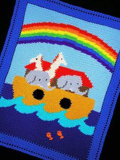 Crochet Patterns Noah's Ark Color Graph Chart Baby Afghan Pattern   eBay