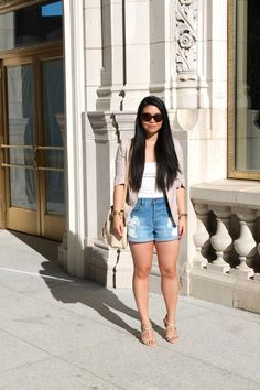 Basic Summer Neutrals + My Love For Chicago: H blazer and top; Forever 21 shorts, shoes, earrings and ring; Michael Kors watch; thrifted bracelet; vintage Dooney & Bourke bag; House of Harlow Chantal sunnies