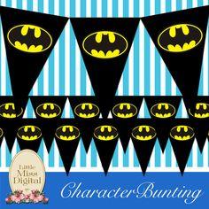Batman Bunting Superhero Flag Birthday Party by LittleMissDigital1