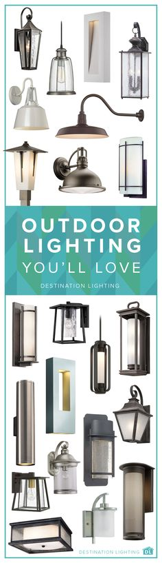Take your curb appeal to the next level with some beautiful new outdoor lighting. From walls to ceilings to post lights, we've got everything you can dream up right here at Destination Lighting. Outdoor Lighting Landscape, Best Outdoor Lighting, Rustic Lighting, Home Lighting, Lighting Design, Lighting Ideas, Outdoor Lamps, Deck Lighting, Ceiling Lighting