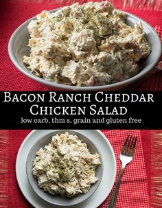 We love my Bacon Ranch Chicken Casserole so I needed to come up with a version for the warmer weather. This Chicken Salad does the trick! Low carb THM S Gluten Free