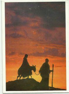 """""""Hacia Belén"""".  Réplica en tarjeta de óleo sobre lienzo del Padre Juan Carrasquilla.  Sacerdote Salvatoriano"""