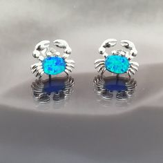 Blue opal crab sterling silver earrings by DelceDesigns on Etsy