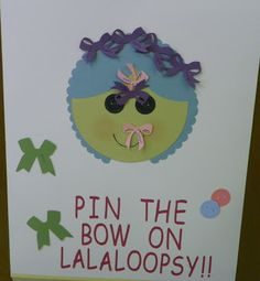 Pin the Bow on Lalaloopsy game for birthday party. Some Stampin' Up! supplies used by Debbie Henderson, Debbie's Designs.