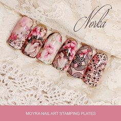Nail design with Moyra Nail Art Stamping plate No. 23 Vanity  and No. 25 Vintage 2  #moyra #vanity #nailart #stamping #plate #koromnyomda #vintage #rose