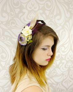 White and Plum Flower Headband Bridal Headband by RuthNoreDesigns
