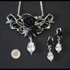 "Set ""Bacchanal Rose I"", Gothichouse Diamond Earrings, Rose, Jewelry, Jewellery Making, Pink, Jewels, Roses, Jewlery, Jewerly"