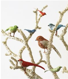 The kids can glitter those craft store birds and put on branches.  Pastel colors for Easter?