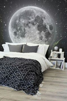 Whats more magical than this space wallpaper mural? This mesmerising view of the moon and countless stars transport your bedroom to dreamy heights. Pair with monochrome bedding for a sophisticated space themed bedroom. - Rooms Inn The House Dream Bedroom, Bedroom Boys, Bedroom Black, Boys Bedroom Wallpaper, Boys Bedroom Themes, Magical Bedroom, Star Bedroom, Monochrome Bedroom, My New Room