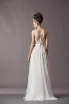 Beautiful illusion back #wedding #gown with covered buttons, from Watters Bridal Fall 2013