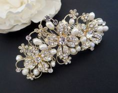 Peine de pelo novia de pan de oro oro casco nupcial por KZBRIDAL