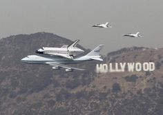 Two F-18 jets escorted the space shuttle Endeavor as it arrived in Los Angeles on Friday, September 21, 2012.