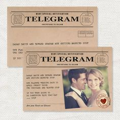 vintage telegram save the date or engagement announcement - printable file - photo save the date or postcard