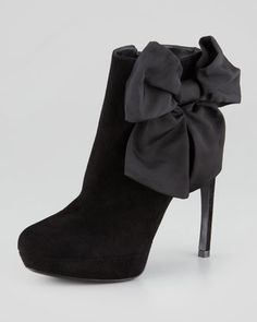 Bow-Ankle Suede Bootie by Alexander McQueen