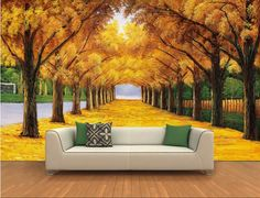 Amazing Living Room Interior Desig With White Sofa And Awesome Autumn Background Decoration