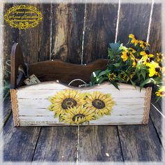 Sunflower Country Decorative Vintage Style basket by alenahandmade, $35.00